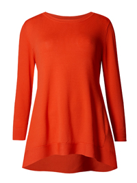 P3rUna PAPRIKA Dipped Side Round Neck Jumper - Size 10 to 14