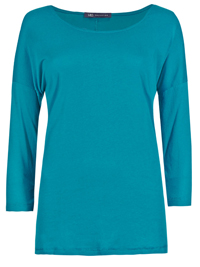 M&5 TEAL Pure Cotton 3/4 Sleeve T-Shirt - Size 8 to 22