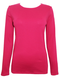 M&5 FUCHSIA Pure Cotton Long Sleeve Top - Size 12 to 20