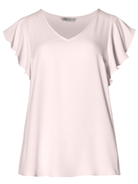 M&5 BLUSH V-Neck Ruffle Sleeve Shell Top - Size 6 to 24