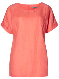 M&5 CORAL Pure Linen Shell Top - Size 6 to 24