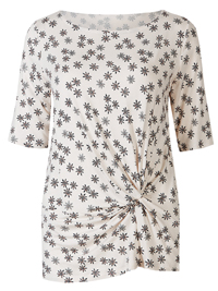 M&5 IVORY Floral Print Front Tie Twist Blouse - Size 8 to 24