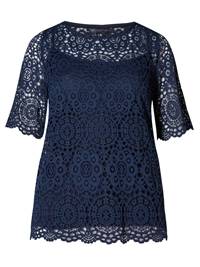 M&5 NAVY Layered Lace Top with Camisole - Size 10 to 24