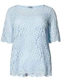 M&5 PALE-BLUE Layered Lace Top with Camisole - Size 8 to 22