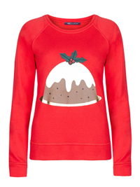 M&5 RED Christmas Pudding Jumper - Size 18