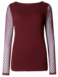M&5 WINE Slash Neck Long Sleeve Jersey Top - Size 16 to 24