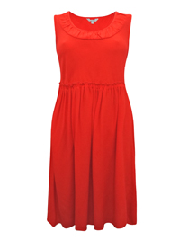 P3rUna Chilli Red Ruched Banded Scooped Neck Crepe Dress - Size 12 to 18
