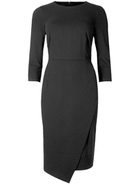 M&5 BLACK Mock Wrap 3/4 Sleeve Bodycon Dress - Size 6 to 22 (Length Short-Regular)