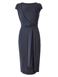 M&5 NAVY Petite Modal Rich Drape Wrap Midi Dress - Size 6 to 18