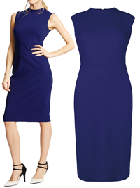 M&5 RICH-BLUE Sleeveless Ponte Bodycon Dress - Size 6 to 22