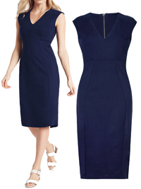 M&5 NAVY V-Neck Cap Sleeve Bodycon Midi Dress - Size 6 to 22 (Lengths 39in-41in)