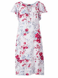 M&5 Collection IVORY Floral Print Tie Scoop Neck Viscose Dress - Size 8 to 22