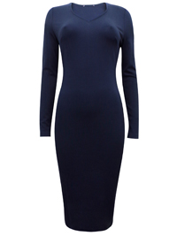 M&5 NAVY Long Sleeve Jersey Bodycon Midi Dress - Size 6 to 20 (Lengths Short-Regular)