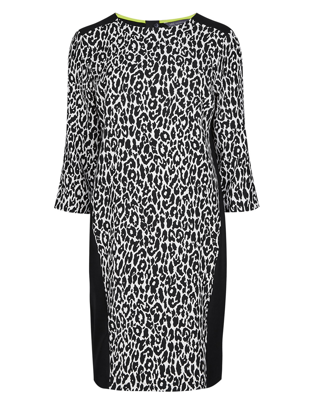 b48ca1a9d27c Marks and Spencer - - M&5 BLACKMIX Leopard Print Insert Panelled Tunic  Dress - Plus Size 12 to 22