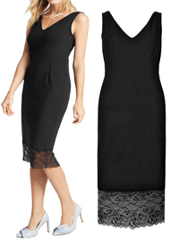 M&5 BLACK Lace Tuelle Hem Bodycon Dress - Size 8 to 18