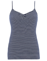 M&5 Navy White Striped RUCHED Front Camisole Top - Size 8 to 24