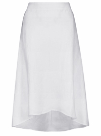 4utograph WHITE Linen Blend Luxury Dippy Hem Long Skirt - Size 14