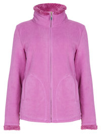 M&5 CERISE Long Sleeve Bonded Fleece Jacket - Size 8 to 24