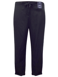M&5 BLACK Linen Blend Drawstring Trousers - Size 12 to 18