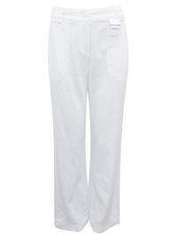 M&5 WHITE Linen Blend Wide Leg Trousers - Size 8 to 22