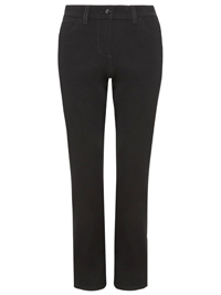 M&5 BLACK Cotton Rich 2-Way Stretch Straight Leg Trousers - Size 8 only