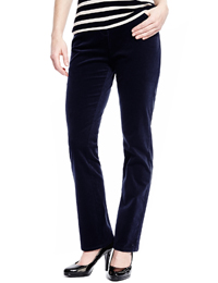M&5 NAVY Cotton Rich Cord Straight Leg Trousers - Size 12 to 20