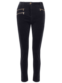 M&5 BLUE-BLACK Corduroy Zip Detail Jeggings - Size 10 to 16