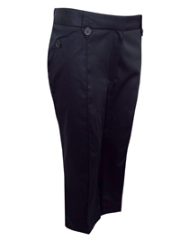 M&5 BLACK Cotton Rich Double Button Cropped Trousers - Size 14 to 22