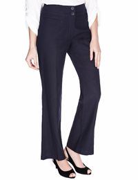 M&5 NAVY Linen Blend Straight Leg Trousers - Size 6 to 20