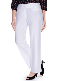 M&5 WHITE Linen Blend Straight Leg Trousers - Size 10 to 28