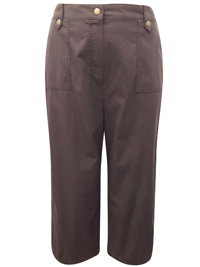 M&5 CHOCOLATE Pure Cotton Cropped Trousers - Size 12 to 22