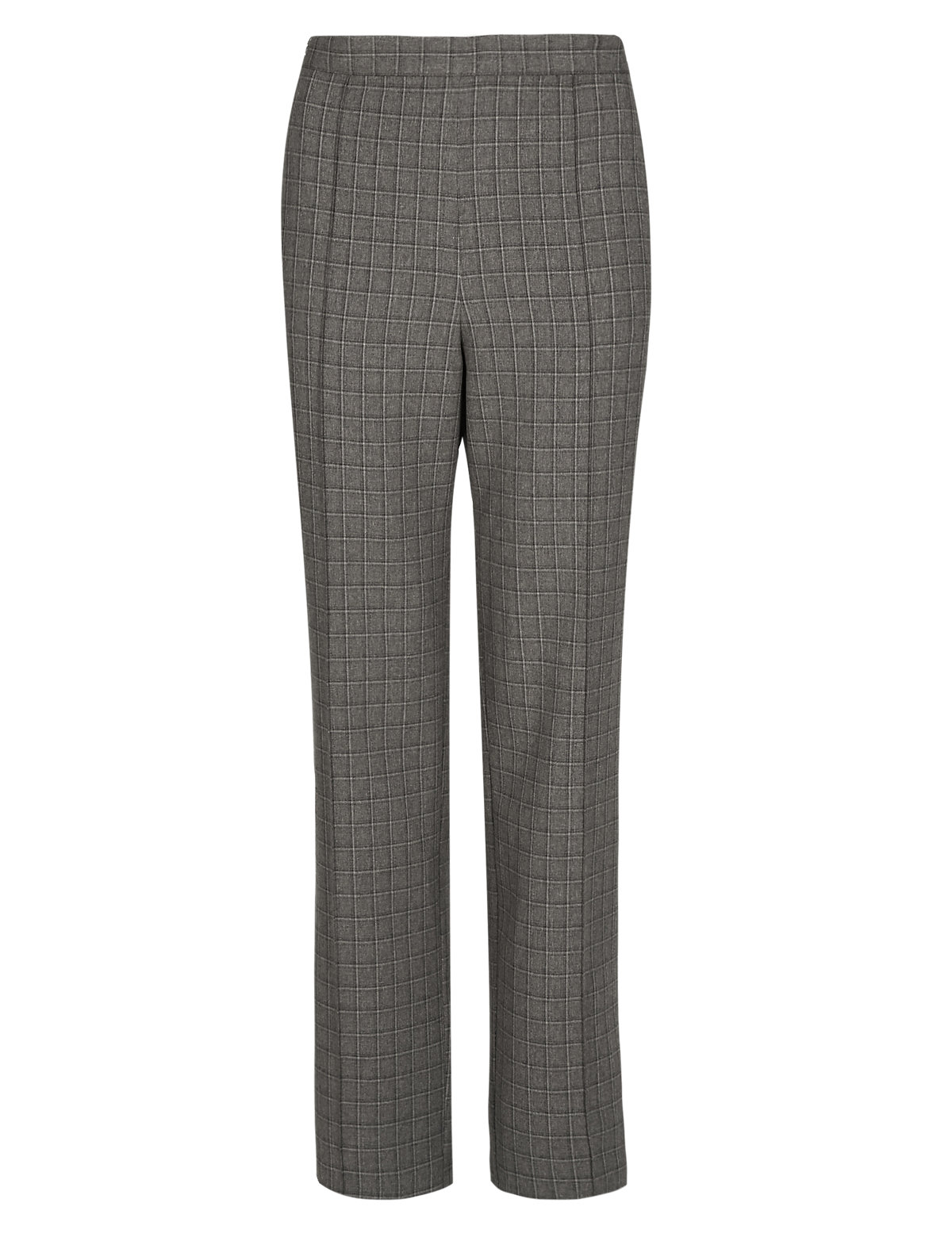 M&5 MINK Straight Leg Checked Trousers - Size 16 to 18