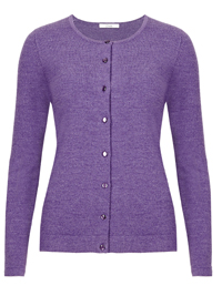M&5 PURPLE Button Through Knitted Cardigan - Size 8 to 14
