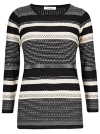M&5 BLACK Cashmilon Textured Striped Jumper - Size 14 to 16