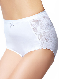 M&5 WHITE Cotton Blend Comfort Lace High Rise Full Briefs - Size 10 to 24