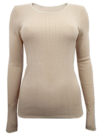 M&5 LIGHT-CAMEL Thermal Long Sleeve Pointelle Top - Size 6 to 22