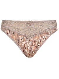 M&5 NUDE Jacquard & Lace Trim High Leg Knickers - Size 8 to 22