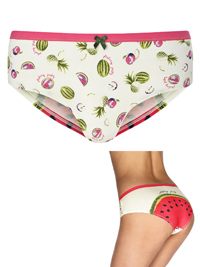 M&5 CREAM Cotton Rich Watermelon Low Rise Shorts - Size 12 to 16