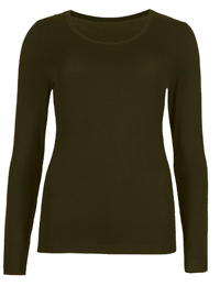 M&5 DARK-OLIVE Heatgen Thermal Long Sleeve Top - Size 6 to 22