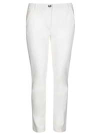 P3rUna IVORY Cotton Rich Flat Front Trousers - Size 24