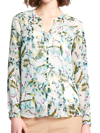 P3rUna GREEN Palm Leaf Print Long Sleeve Blouse - Size 8 to 18