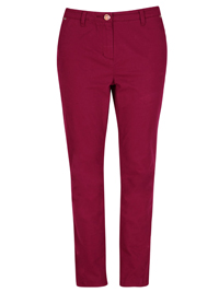 P3rUna PLUM Cotton Rich Soft Touch Slim Leg Trousers - Size 12 to 18