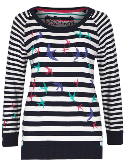 M&5 P3rUna Navy Mix Nautical Striped & Bird Print Knitted Jumper - Size 8 to 24