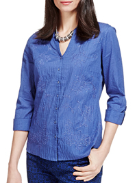 P3rUna BLUE Pure Cotton Embroidered Shirt - Size 8 to 22