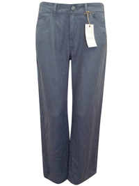 M&5 SLATE Pure Linen Flat Front Trousers - Size 8 to 10