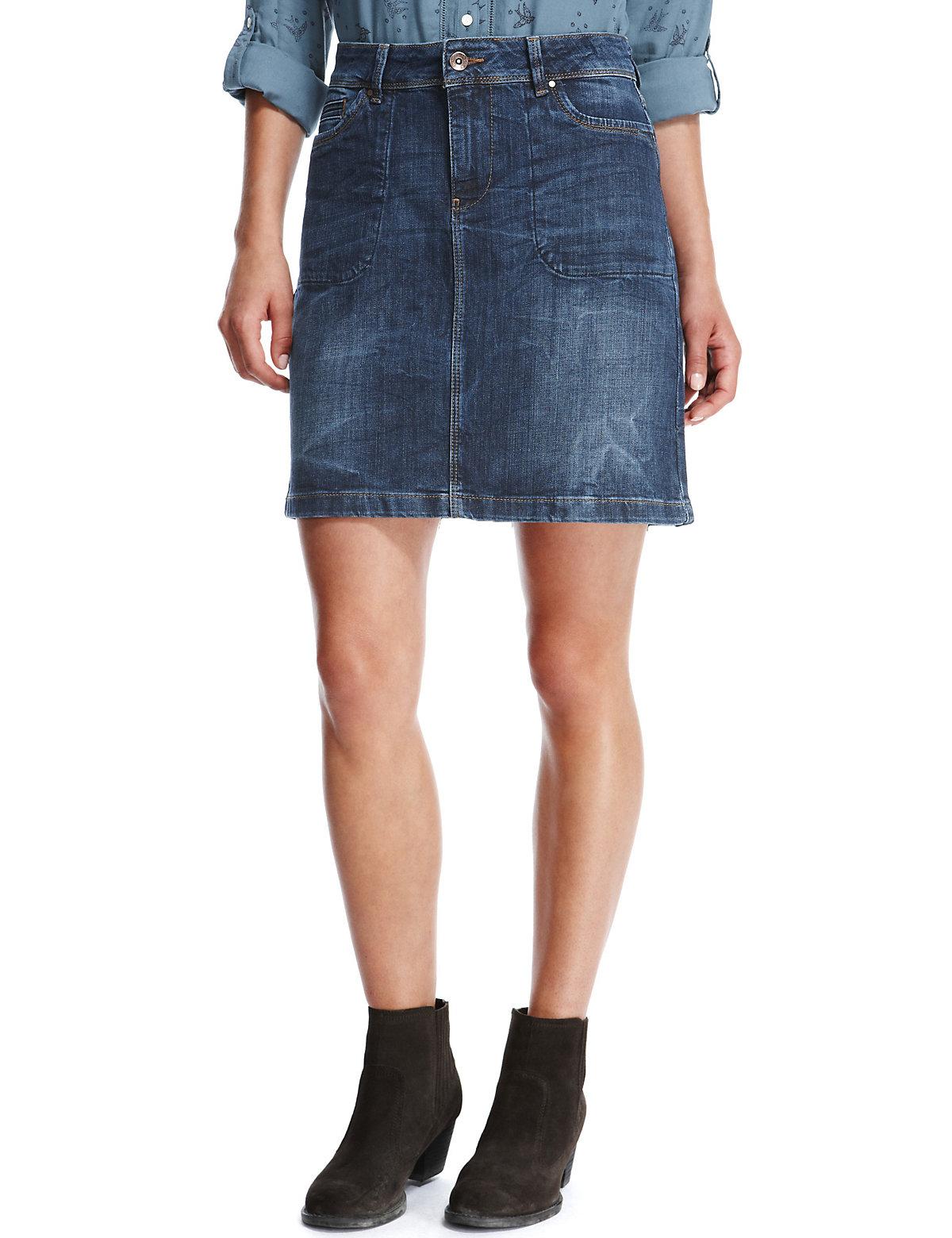 5147b80e76 Marks and Spencer - - M&5 INDIGO Cotton Rich Denim Skirt - Size 8 to 14