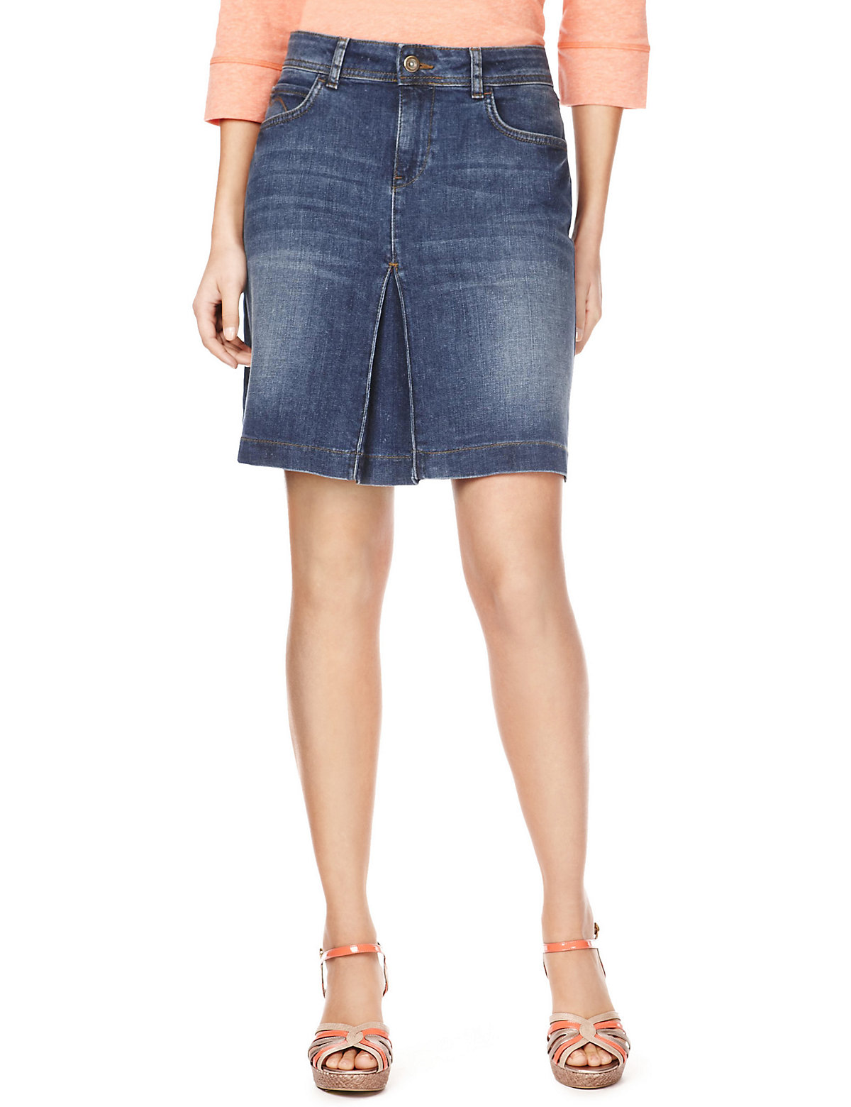 de9f2a1160 Marks and Spencer - - M&5 Dark Blue Washed Look Denim Mini Skirt - Size 8  to 16