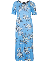 M&5 BLUE Floral Print Long Cool Comfort Jersey Dress - Size 6 to 18