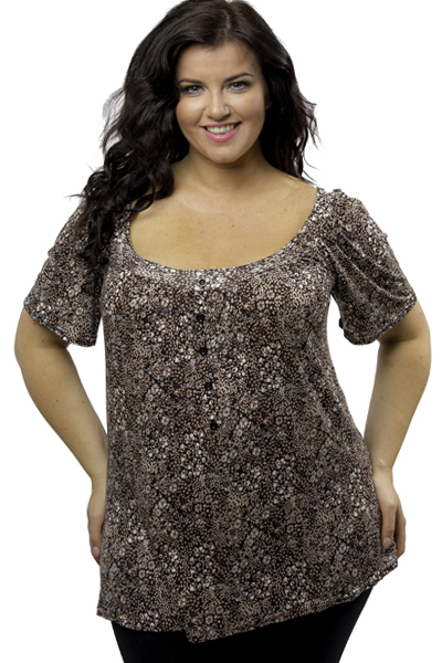 Captive Brown Fluid Jersey Ditsy Floral Print Top - Plus Size 14/16 to 26/28