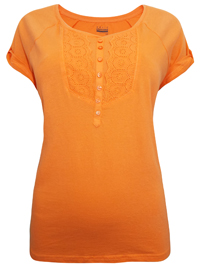 ORANGE Broderie Anglaise Placement Pure Cotton Top - Size 12 to 20